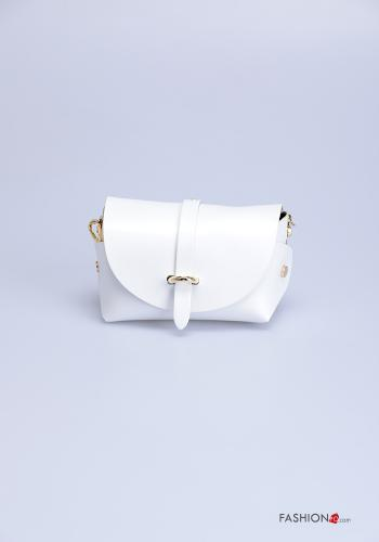 Bag in Genuine Leather  with shoulder strap with strap White