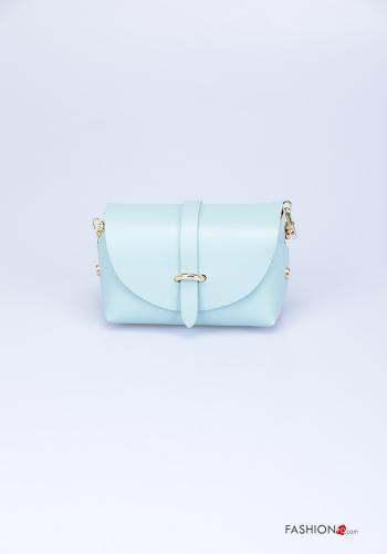 Bag in Genuine Leather  with shoulder strap with strap Sky blue