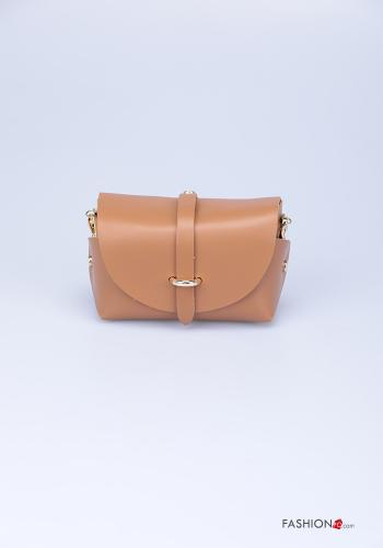 Bag in Genuine Leather  with shoulder strap with strap Camel colour