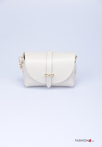 Bag in Genuine Leather  with shoulder strap with strap Beige