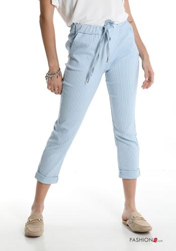 Trousers  with pockets with bow Striped Sky blue