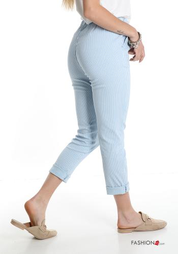 Trousers  with pockets with bow Striped