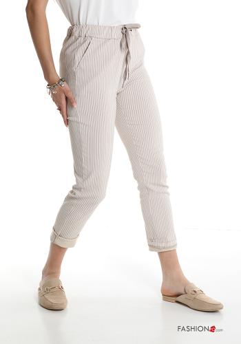 Trousers  with pockets with bow Striped Beige