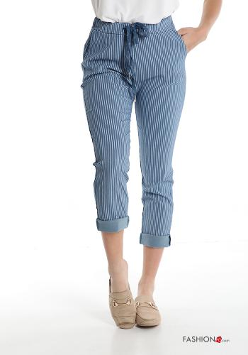 Trousers  with pockets with bow Striped Light blue