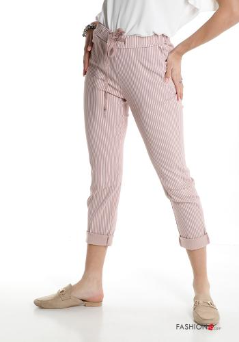 Trousers  with pockets with bow Striped Pink