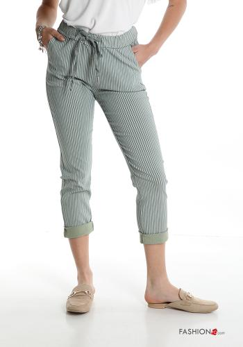 Trousers  with pockets with bow Striped Military green