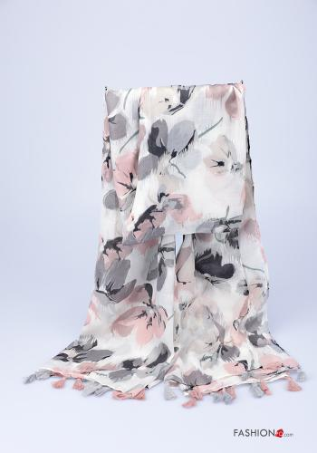 Scarf  with fringes Floral print