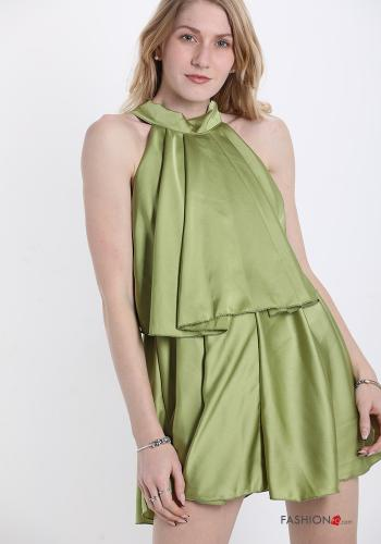 Jumpsuit  with bow satin Light green