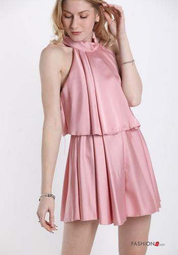 Jumpsuit  with bow satin Pink