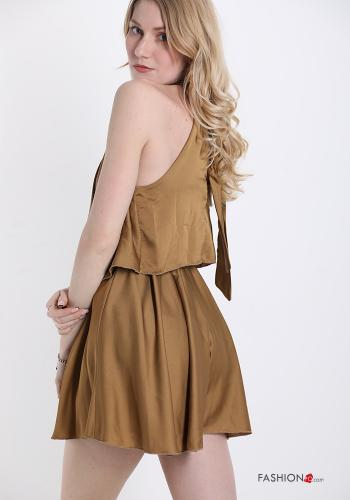 Jumpsuit  with bow satin Camel colour