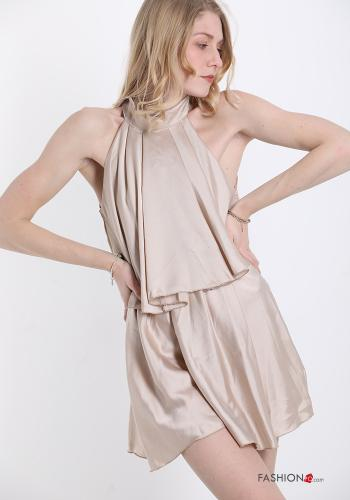 Jumpsuit  with bow satin Beige