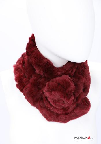 Scarf in Ecological Fur Bordeaux
