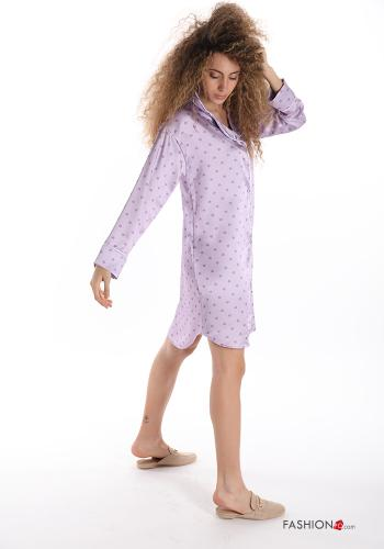 Night dress  with pockets satin Polka dot print Lilac