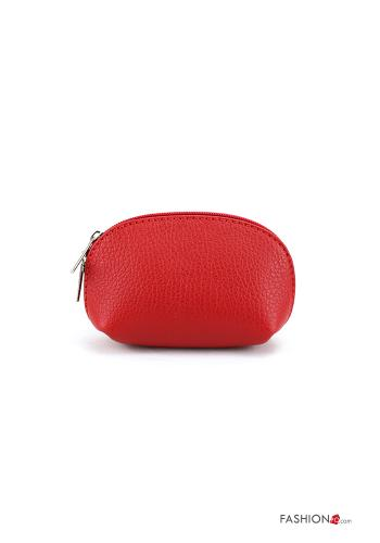 Coin Purse in Genuine Leather  with zip Red
