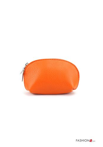 Coin Purse in Genuine Leather  with zip Orange