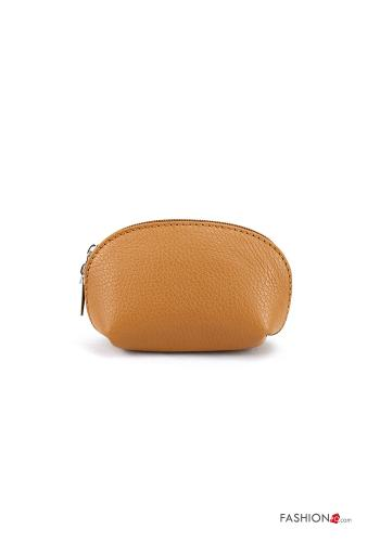Coin Purse in Genuine Leather  with zip Light brown