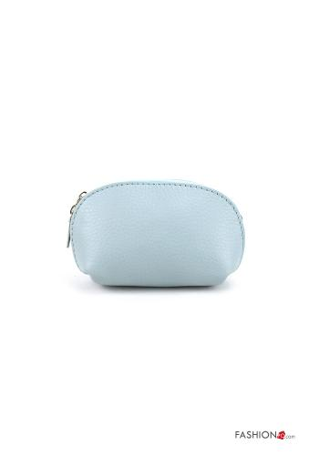 Coin Purse in Genuine Leather  with zip Sky blue