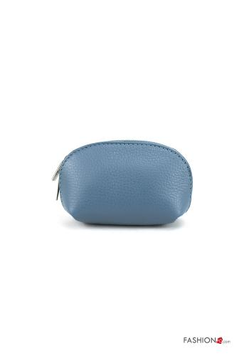 Coin Purse in Genuine Leather  with zip Light blue