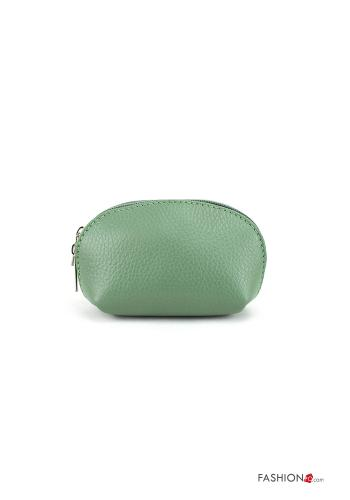 Coin Purse in Genuine Leather  with zip Light green