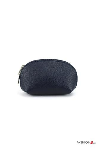 Coin Purse in Genuine Leather  with zip Blue