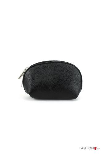 Coin Purse in Genuine Leather  with zip Black