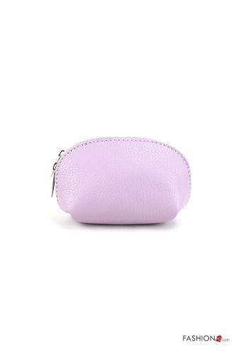 Coin Purse in Genuine Leather  with zip Lilac