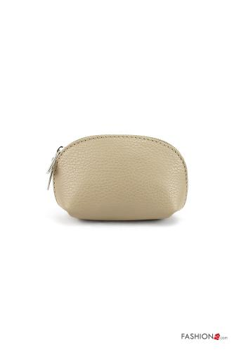 Coin Purse in Genuine Leather  with zip Mud Brown