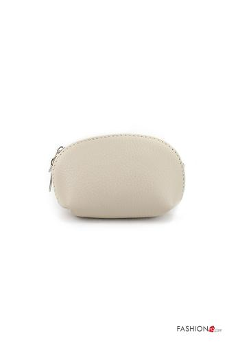Coin Purse in Genuine Leather  with zip Beige