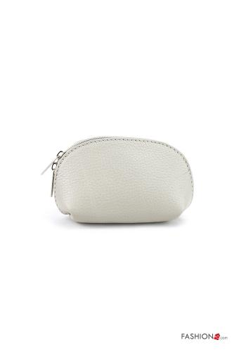 Coin Purse in Genuine Leather  with zip Light grey