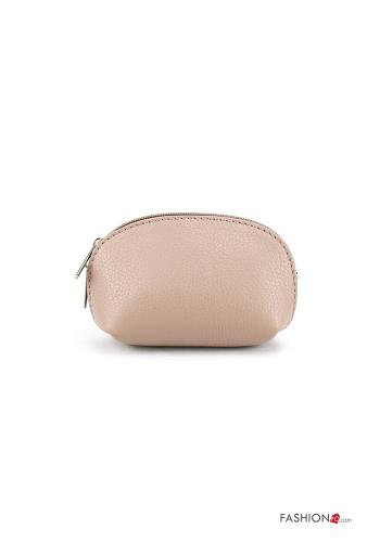 Coin Purse in Genuine Leather  with zip Dusty pink