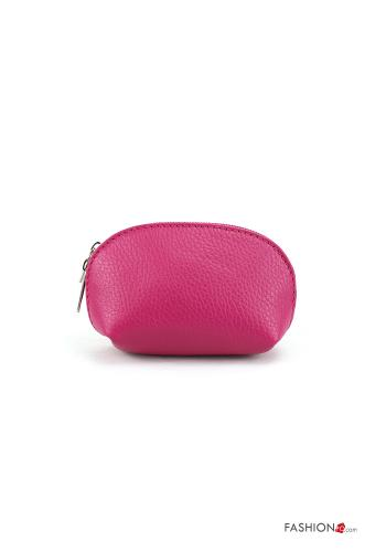 Coin Purse in Genuine Leather  with zip Fucsia