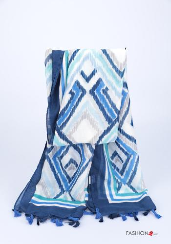 Scarf  with fringes Geometric Pattern Blue
