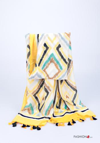 Scarf  with fringes Geometric Pattern Yellow