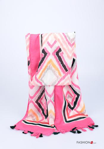 Scarf  with fringes Geometric Pattern Fucsia