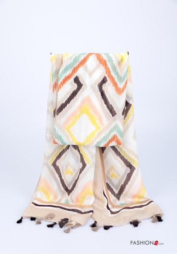 Scarf  with fringes Geometric Pattern Mud colour