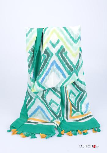 Scarf  with fringes Geometric Pattern Emerald green