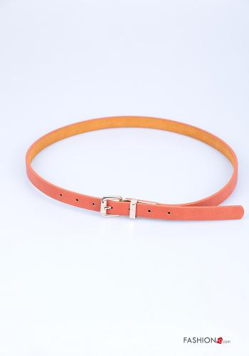 Belt in Genuine Leather  adjustable Orange