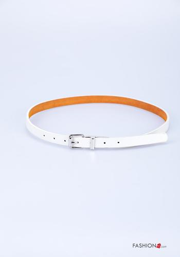 Belt in Genuine Leather  adjustable White
