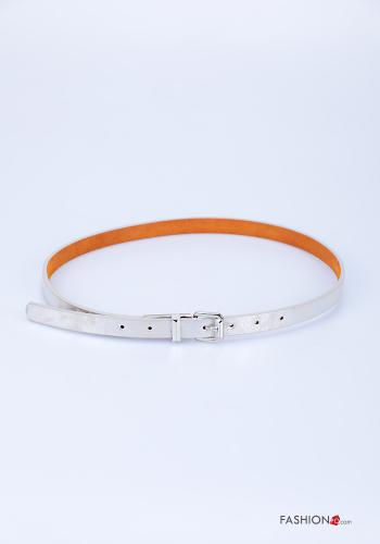 Belt in Genuine Leather  adjustable Silver