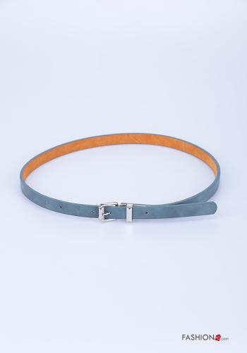 Belt in Genuine Leather  adjustable Light blue