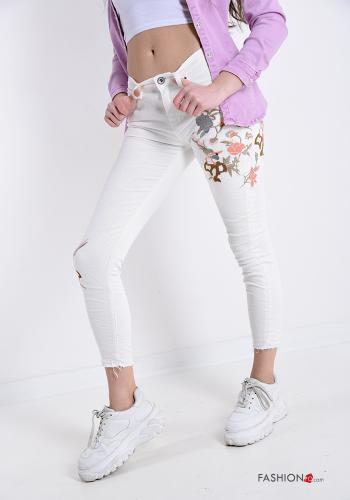 Jeans in Cotton Embroidered pattern White