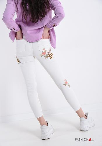 Jeans in Cotton Embroidered pattern