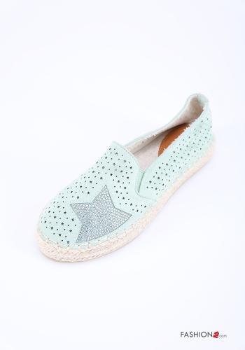 Flat shoes in Linen  with rhinestones Green