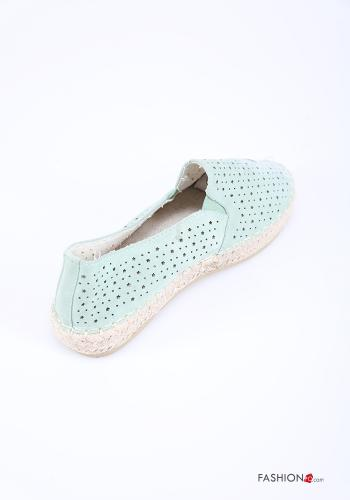 Flat shoes in Linen  with rhinestones