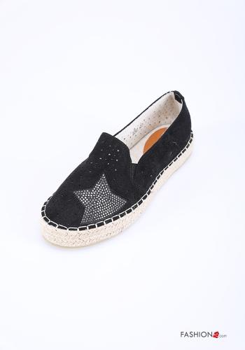 Flat shoes in Linen  with rhinestones Black