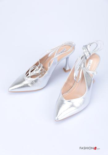 Heeled shoes  adjustable with strap Silver