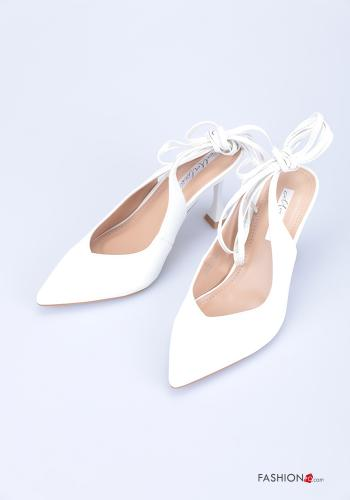 Heeled shoes  adjustable with strap White