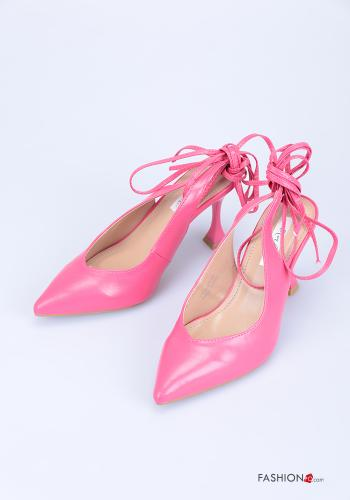 Heeled shoes  adjustable with strap Fucsia