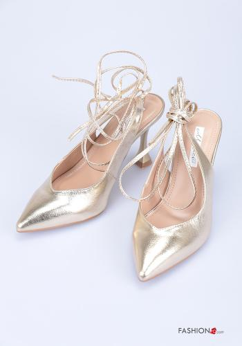 Heeled shoes  adjustable with strap Gold