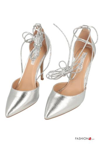 Heeled shoes  with strap Silver